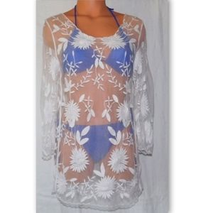 Other - Sheer Open Lace Embroidered Crochet Cover-Up